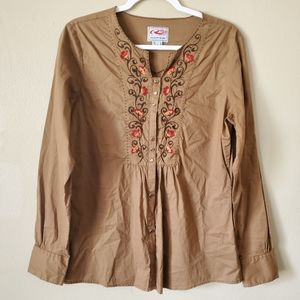 Roper Tan Long Sleeve Floral Embroidered Boho Top